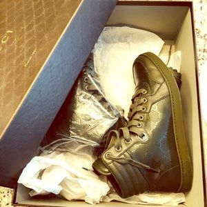 Gucci Lace-up High Top Classic Army Green Sneakers